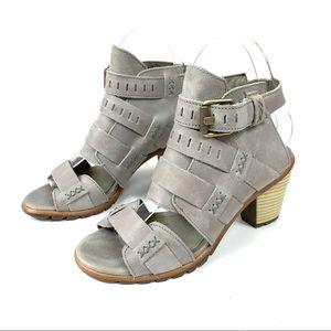 Sorel Nadia leather buckled heeled sandal size 6